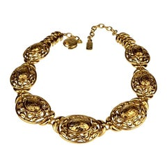 Vintage YVES SAINT LAURENT Ysl Textured Nugget Oval Swirl Choker Necklace