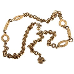 Vintage YVES SAINT LAURENT Ysl Textured Oval and Bar Chain Necklace Belt