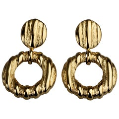 Vintage YVES SAINT LAURENT Ysl Textured Round Dangling Earrings