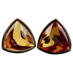 Vintage YVES SAINT LAURENT Ysl Triangle Amber Cabochon Earrings