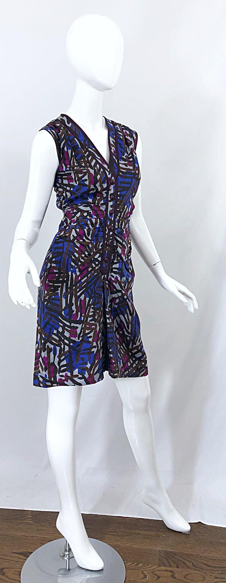 Vintage Yves Saint Laurent YSL Tribal Graffiti Purple + Pink Silk Dress For Sale 5