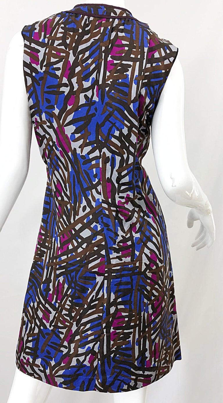 Vintage Yves Saint Laurent YSL Tribal Graffiti Purple + Pink Silk Dress For Sale 6