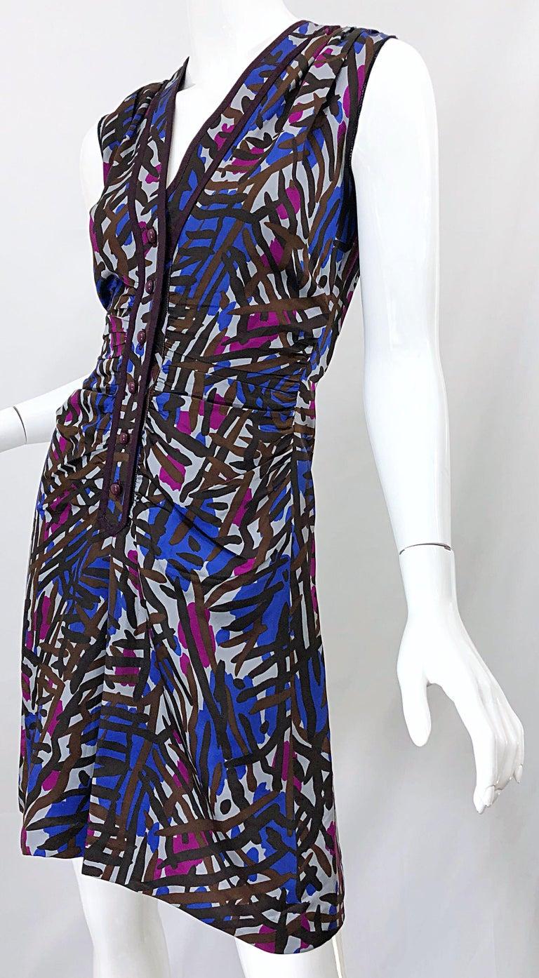 Vintage Yves Saint Laurent YSL Tribal Graffiti Purple + Pink Silk Dress For Sale 7