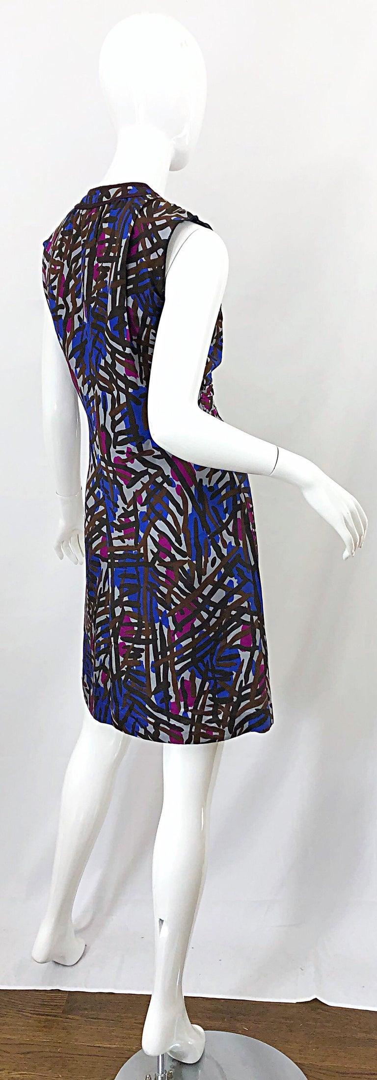 Vintage Yves Saint Laurent YSL Tribal Graffiti Purple + Pink Silk Dress For Sale 8