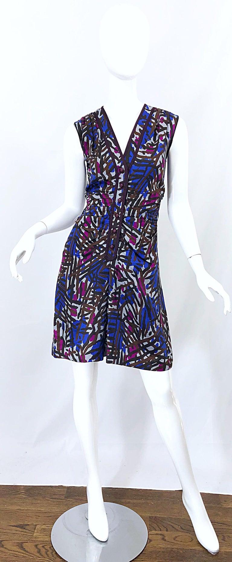 Vintage Yves Saint Laurent YSL Tribal Graffiti Purple + Pink Silk Dress For Sale 9