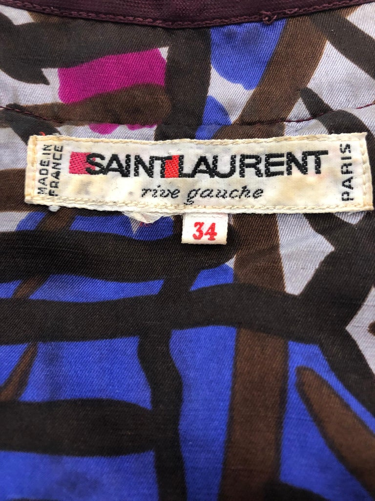 Black Vintage Yves Saint Laurent YSL Tribal Graffiti Purple + Pink Silk Dress For Sale