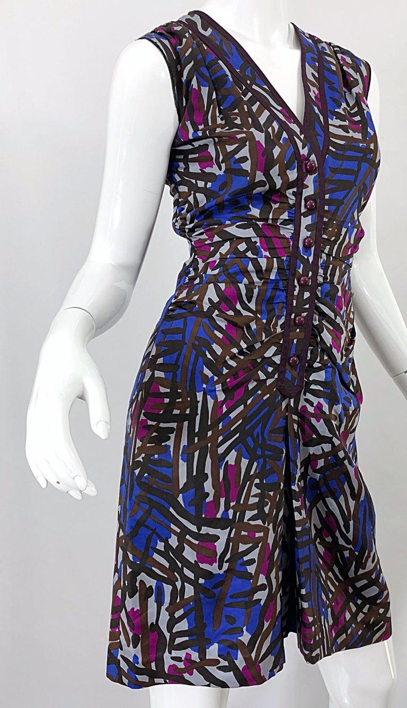 Vintage Yves Saint Laurent YSL Tribal Graffiti Purple + Pink Silk Dress For Sale 1
