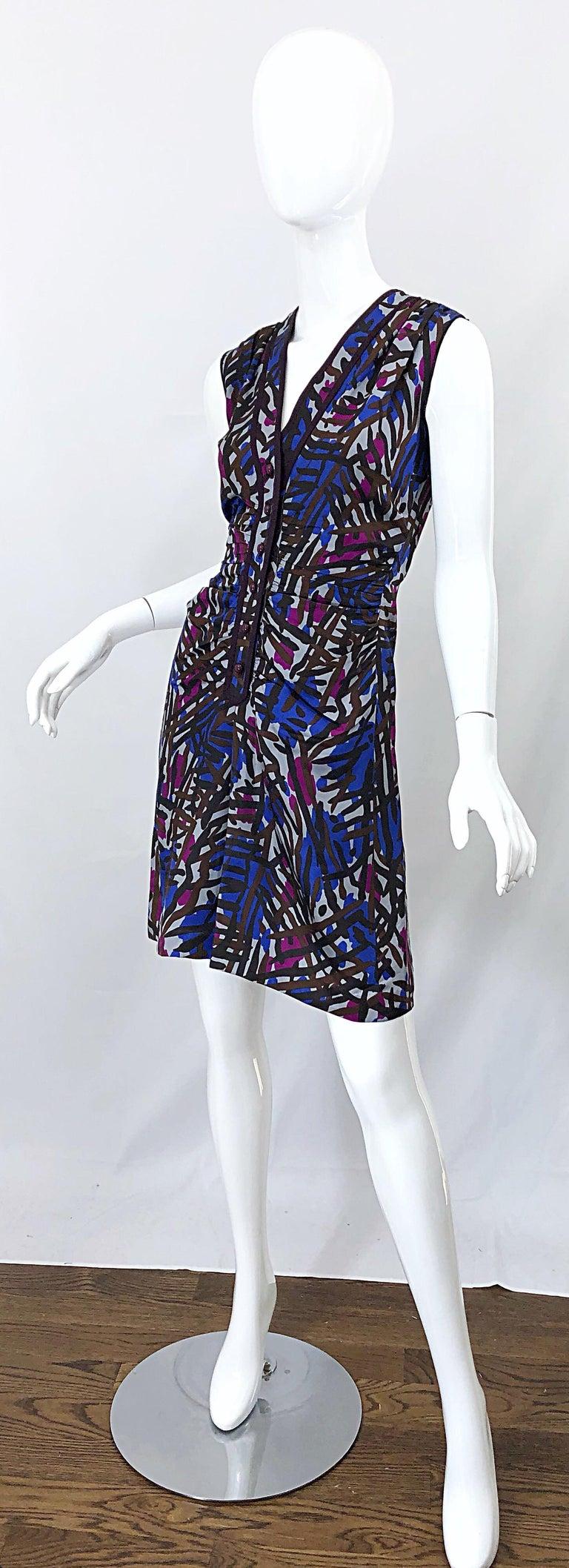 Vintage Yves Saint Laurent YSL Tribal Graffiti Purple + Pink Silk Dress For Sale 2