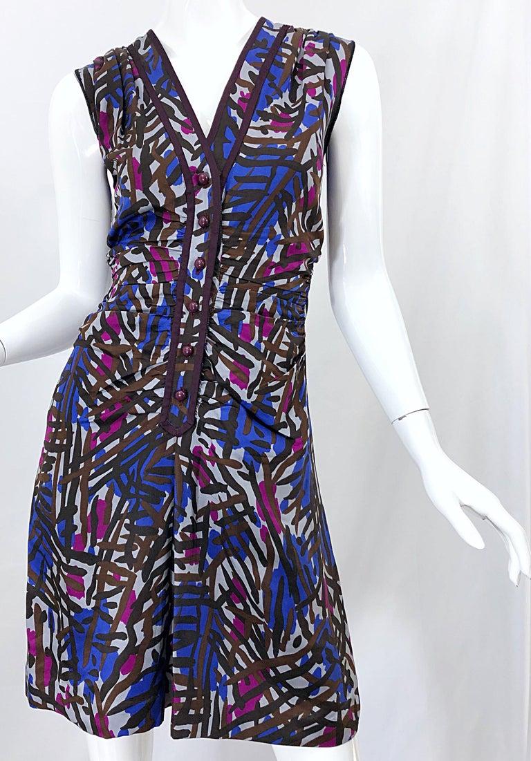 Vintage Yves Saint Laurent YSL Tribal Graffiti Purple + Pink Silk Dress For Sale 3