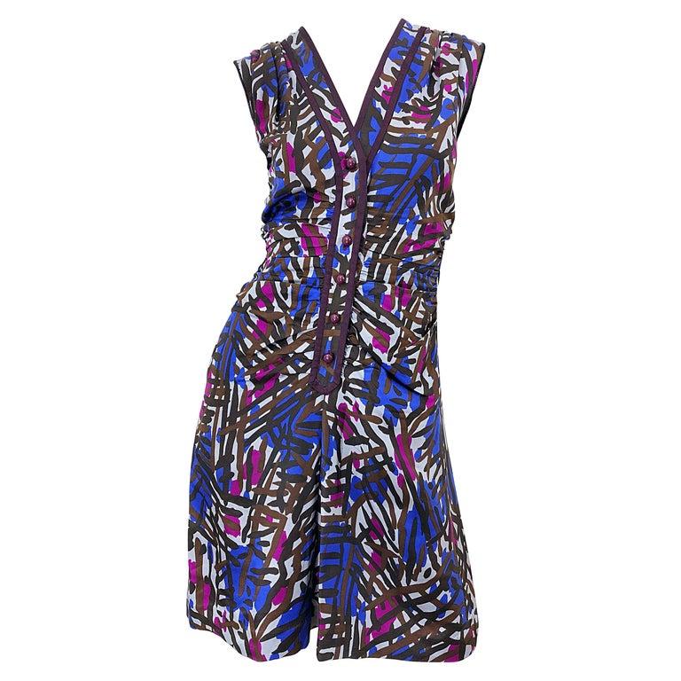 Vintage Yves Saint Laurent YSL Tribal Graffiti Purple + Pink Silk Dress For Sale