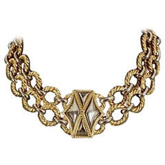 Vintage YVES SAINT LAURENT Ysl Two Tone Hexagon Necklace