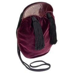 Vintage YVES SAINT LAURENT Ysl Velvet Tassel Russian Collection Bag