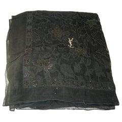 Vintage Yves St. Laurent YSL Black Silk Floral Pattern Scarf