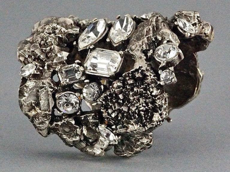 Women's Vintage YYVES SAINT LAURENT Ysl Lava Rock Rhinestone Bracelet Cuff For Sale