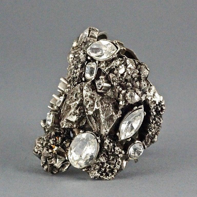 Vintage YYVES SAINT LAURENT Ysl Lava Rock Rhinestone Bracelet Cuff For Sale 1
