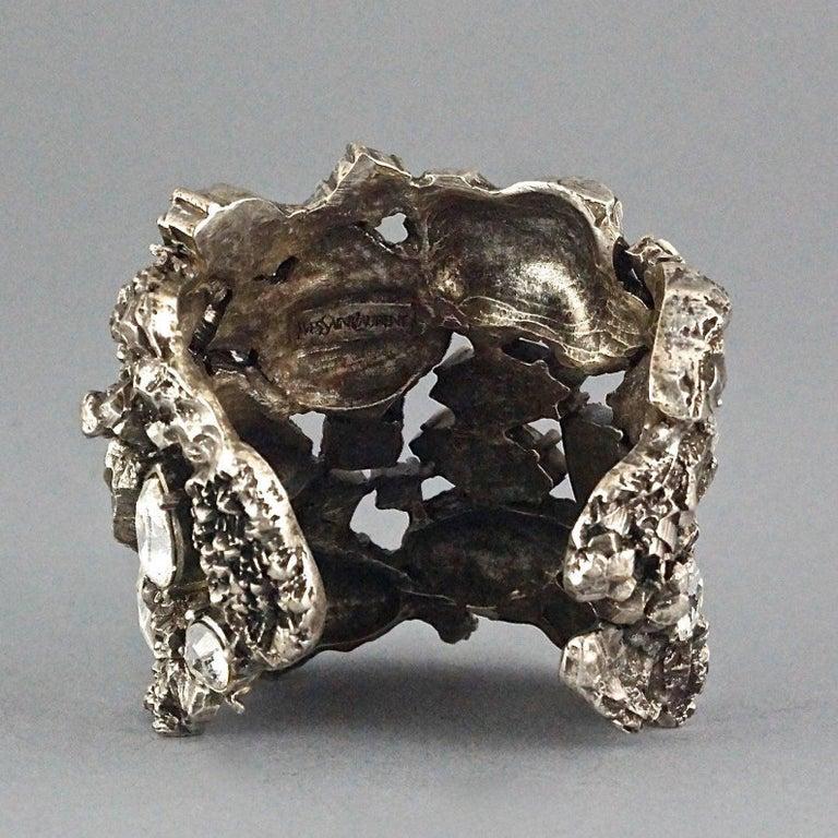 Vintage YYVES SAINT LAURENT Ysl Lava Rock Rhinestone Bracelet Cuff For Sale 2