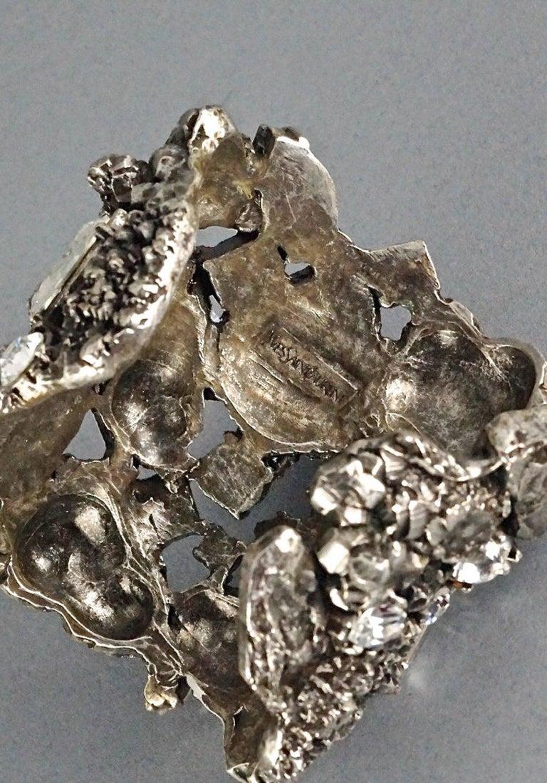 Vintage YYVES SAINT LAURENT Ysl Lava Rock Rhinestone Bracelet Cuff For Sale 4