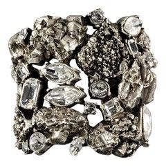 Vintage YYVES SAINT LAURENT Ysl Lava Rock Rhinestone Bracelet Cuff
