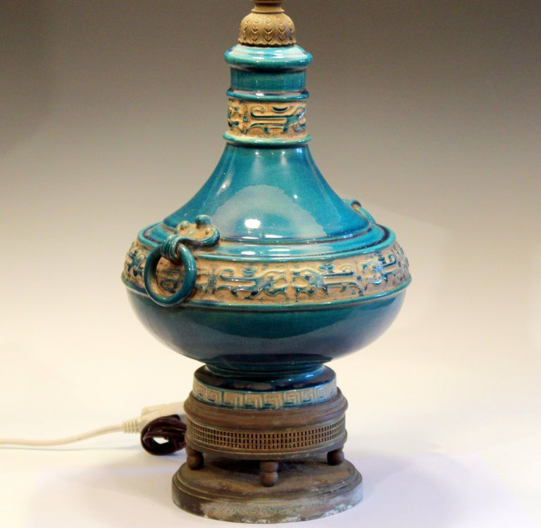 Hollywood Regency Vintage Zaccagnini Italian Turquoise Pottery Large Ring Handle Raymor Lamp For Sale