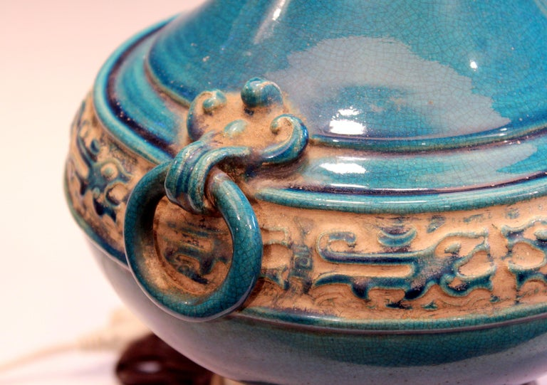 Mid-20th Century Vintage Zaccagnini Italian Turquoise Pottery Large Ring Handle Raymor Lamp For Sale