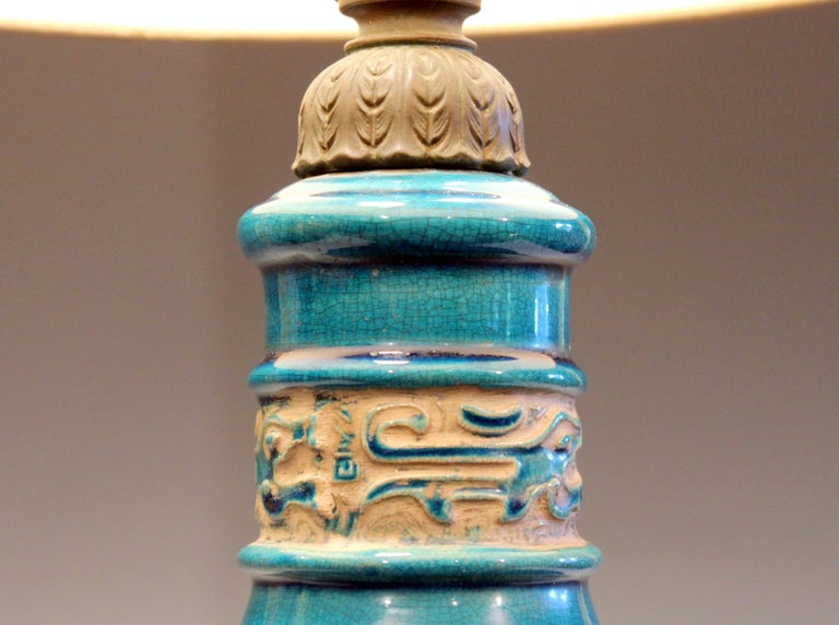 Vintage Zaccagnini Italian Turquoise Pottery Large Ring Handle Raymor Lamp For Sale At 1stdibs
