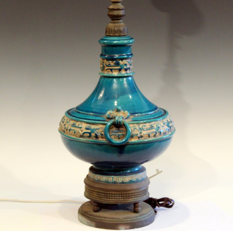 Vintage Zaccagnini Italian Turquoise Pottery Large Ring Handle Raymor Lamp For Sale 2