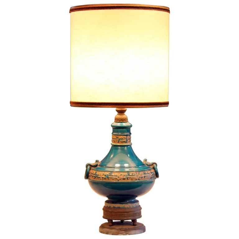 Vintage Zaccagnini Italian Turquoise Pottery Large Ring Handle Raymor Lamp For Sale