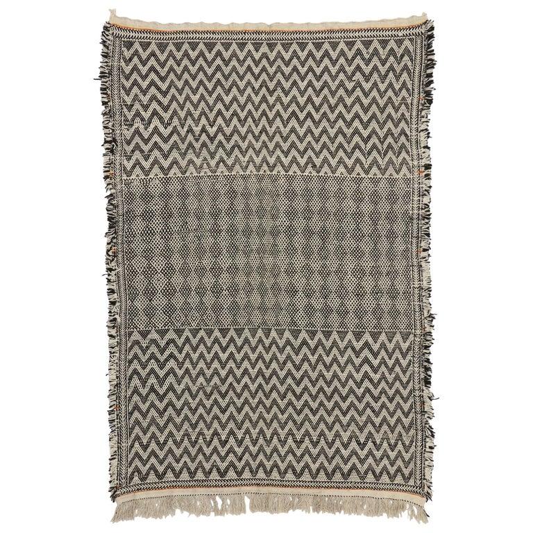 Vintage Zanafi Moroccan Kilim Rug With Zillij Style