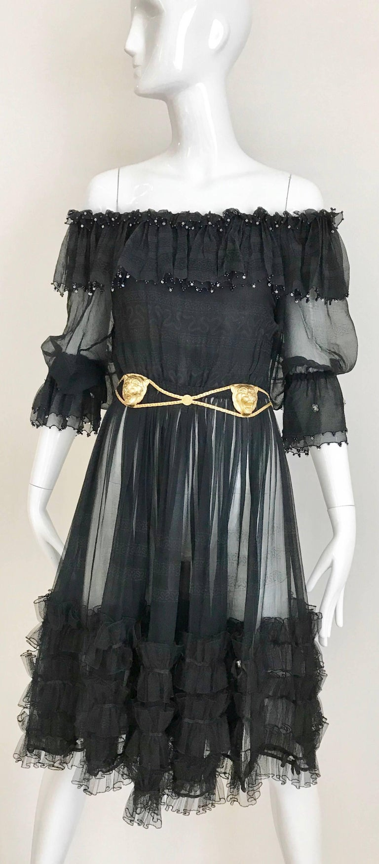 Zandra Rhodes Vintage Black Silk Cocktail Dress In Excellent Condition For Sale In Beverly Hills, CA