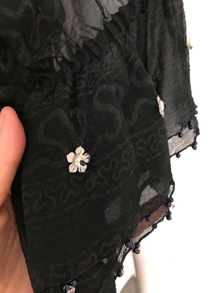 Zandra Rhodes Vintage Black Silk Cocktail Dress For Sale 1