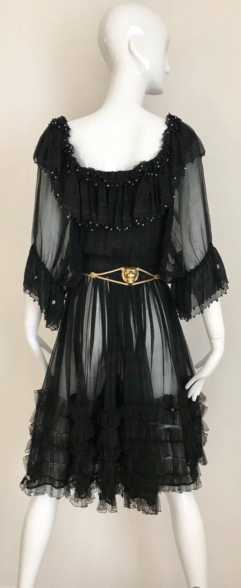 Zandra Rhodes Vintage Black Silk Cocktail Dress For Sale 4