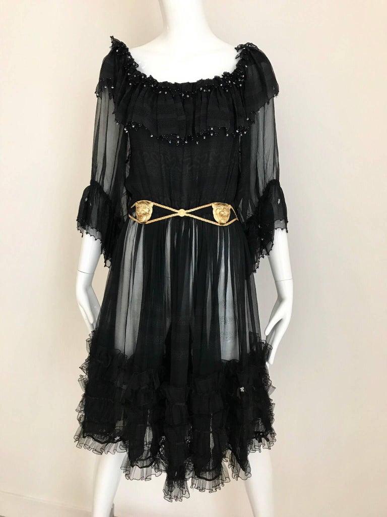 Zandra Rhodes Vintage Black Silk Cocktail Dress For Sale 5