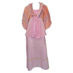 Vintage Zandra Rhodes Pleated Slip Dress and Top Ensemble Set