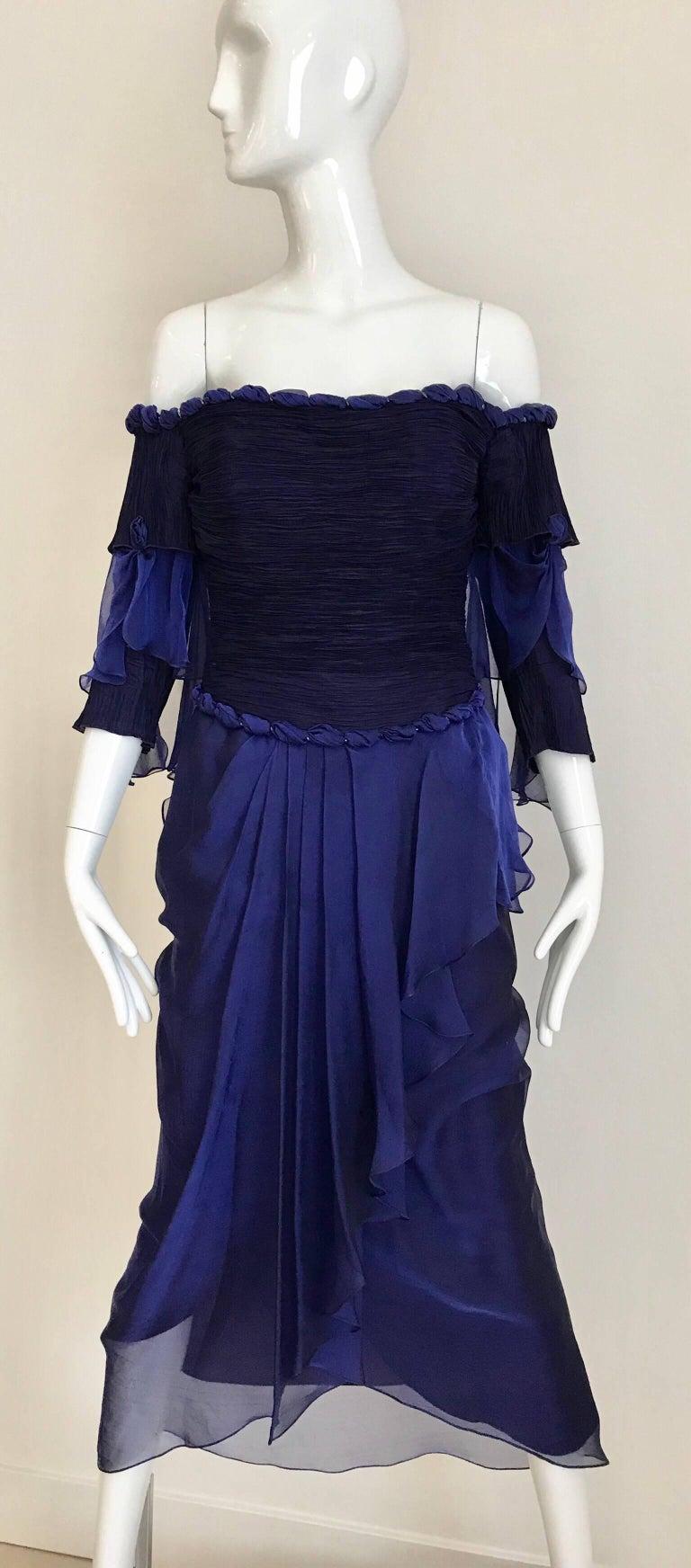 Zandra Rhodes Vintage Purple Blue Off Shoulder Cocktail Silk Dress For Sale 6