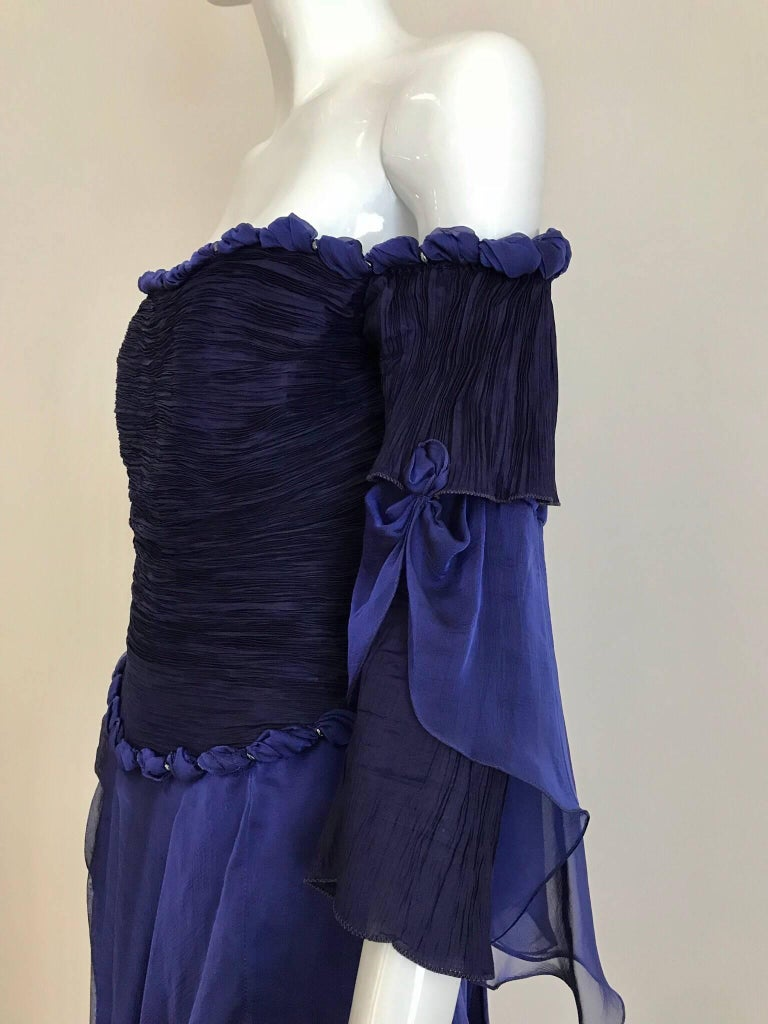 1980s Zandra Rhodes off shoulder purple blue silk chiffon cocktail dress. Fit Size 4 Bust: 34 inches/ Waist: 28 inches   ** minor discoloration inside lining ( see image attached)