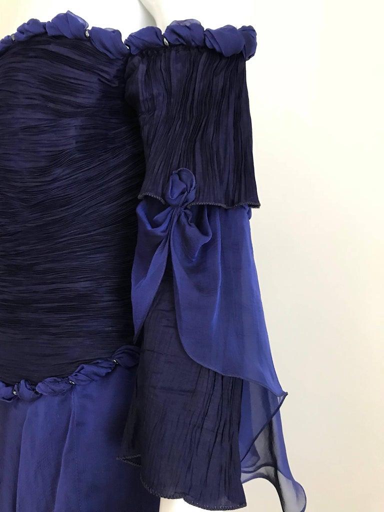 Zandra Rhodes Vintage Purple Blue Off Shoulder Cocktail Silk Dress In Good Condition For Sale In Beverly Hills, CA