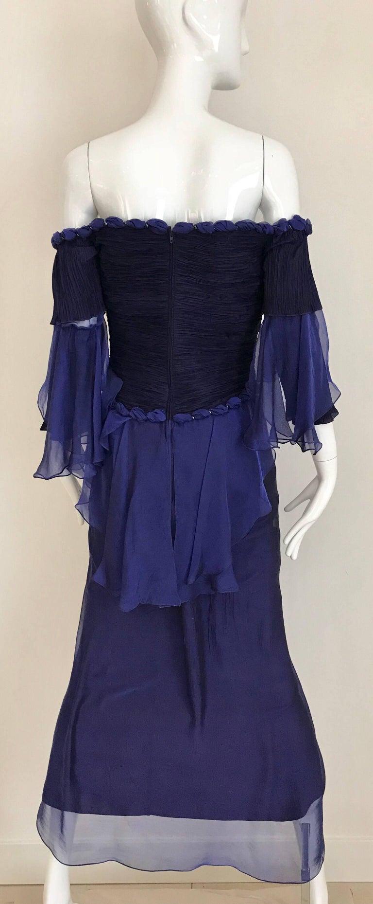 Women's Zandra Rhodes Vintage Purple Blue Off Shoulder Cocktail Silk Dress For Sale