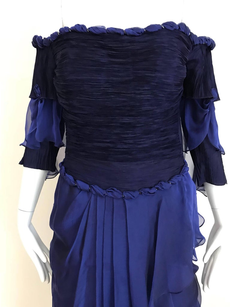 Zandra Rhodes Vintage Purple Blue Off Shoulder Cocktail Silk Dress For Sale 1