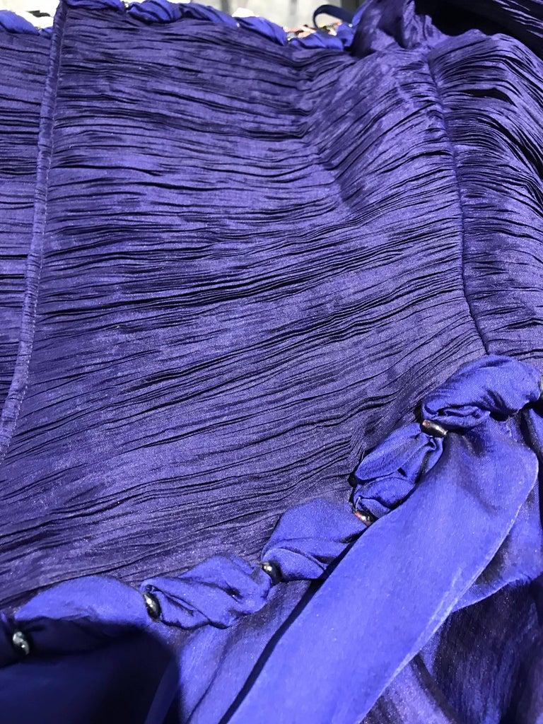 Zandra Rhodes Vintage Purple Blue Off Shoulder Cocktail Silk Dress For Sale 2