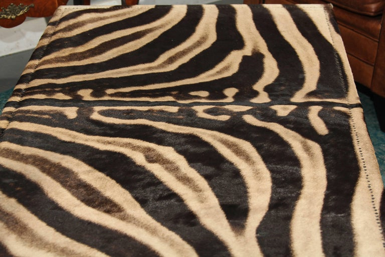 20th Century Vintage Zebra Hide Coffee or Cocktail Table For Sale