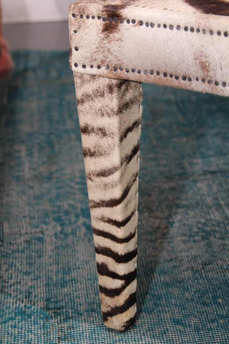 Vintage Zebra Hide Coffee or Cocktail Table For Sale 1