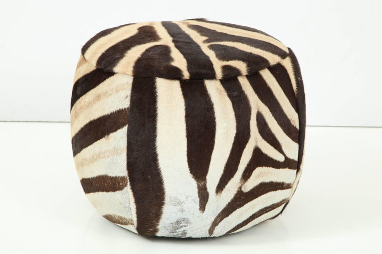 Organic Modern Vintage Zebra Ottoman For Sale