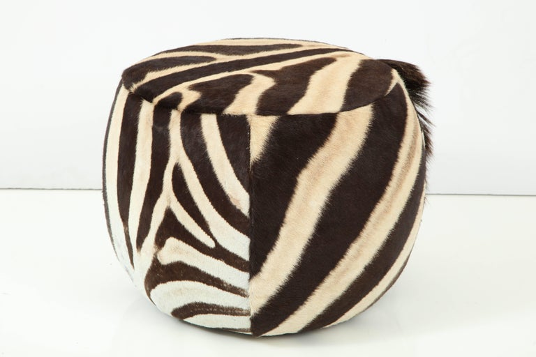 South African Vintage Zebra Ottoman For Sale