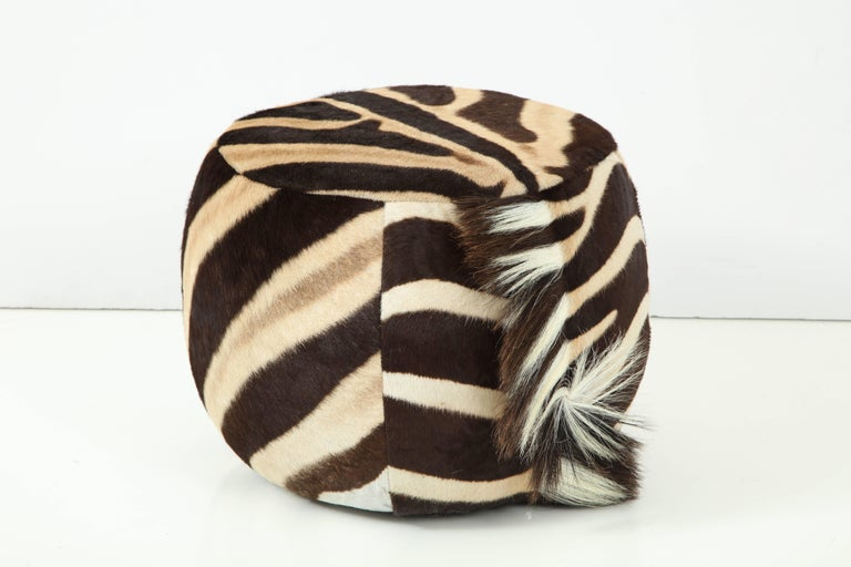 Hand-Crafted Vintage Zebra Ottoman For Sale