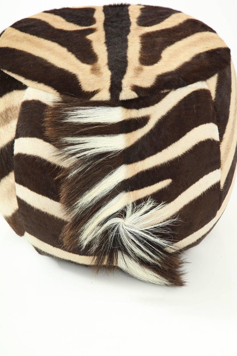 Late 20th Century Vintage Zebra Ottoman For Sale