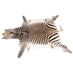 Vintage Zebra Skin Taxidermy Rug, 1970s