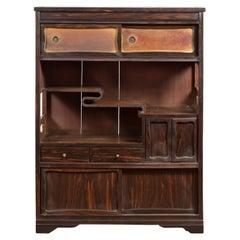 Vintage Zebra Wood Japanese Cabinet with Sliding Doors and Curving Open Shelves