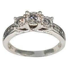 Vintage ZEI 1.50 Carat Three-Stone Diamond Engagement Ring 10 Karat White Gold