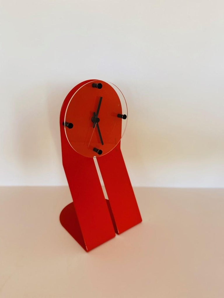 "Italian Vintage Zig Metal Clock by Seccose ""Clocky Clock"" For Sale"