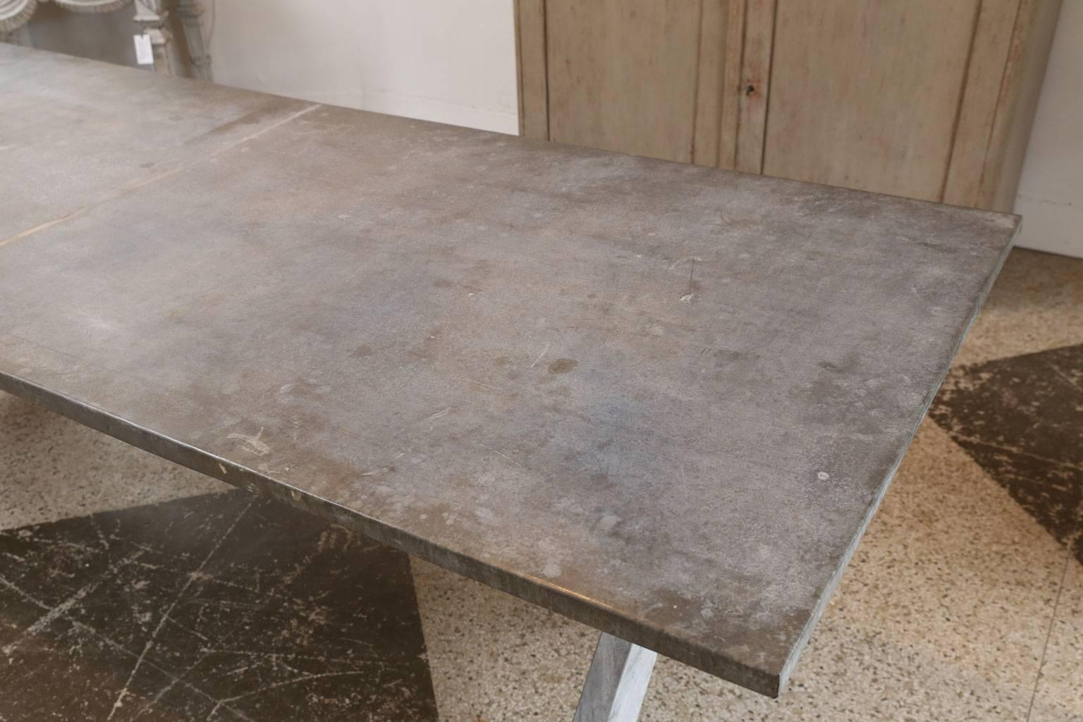 Vintage Zinc Covered Table For Sale 1